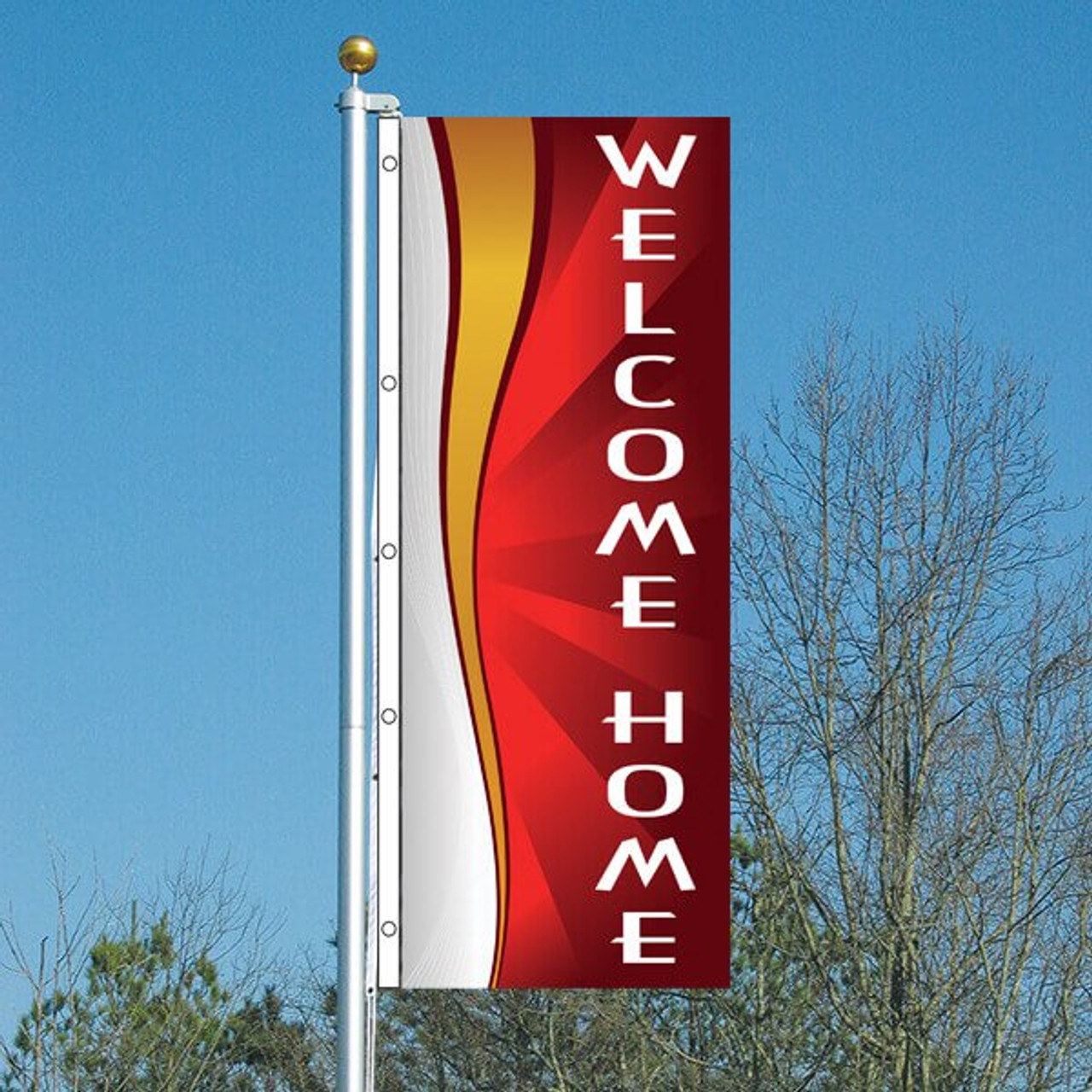 3' x 8' Whirlwind Red - Welcome Home Vertical Flag