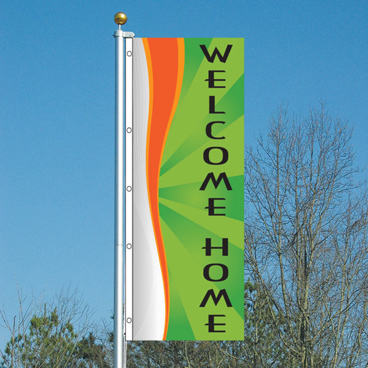 3' x 8' Whirlwind Lime --- Welcome Home Vertical Flag