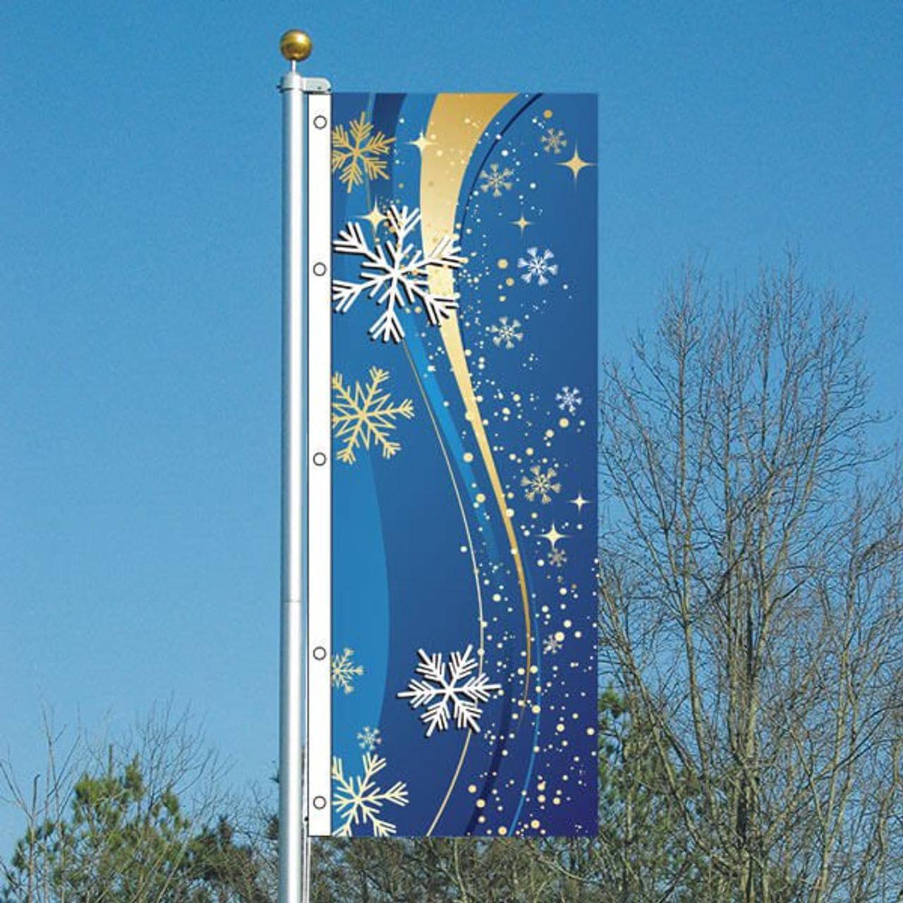 3x8 Blue Snowflakes Vertical Flag