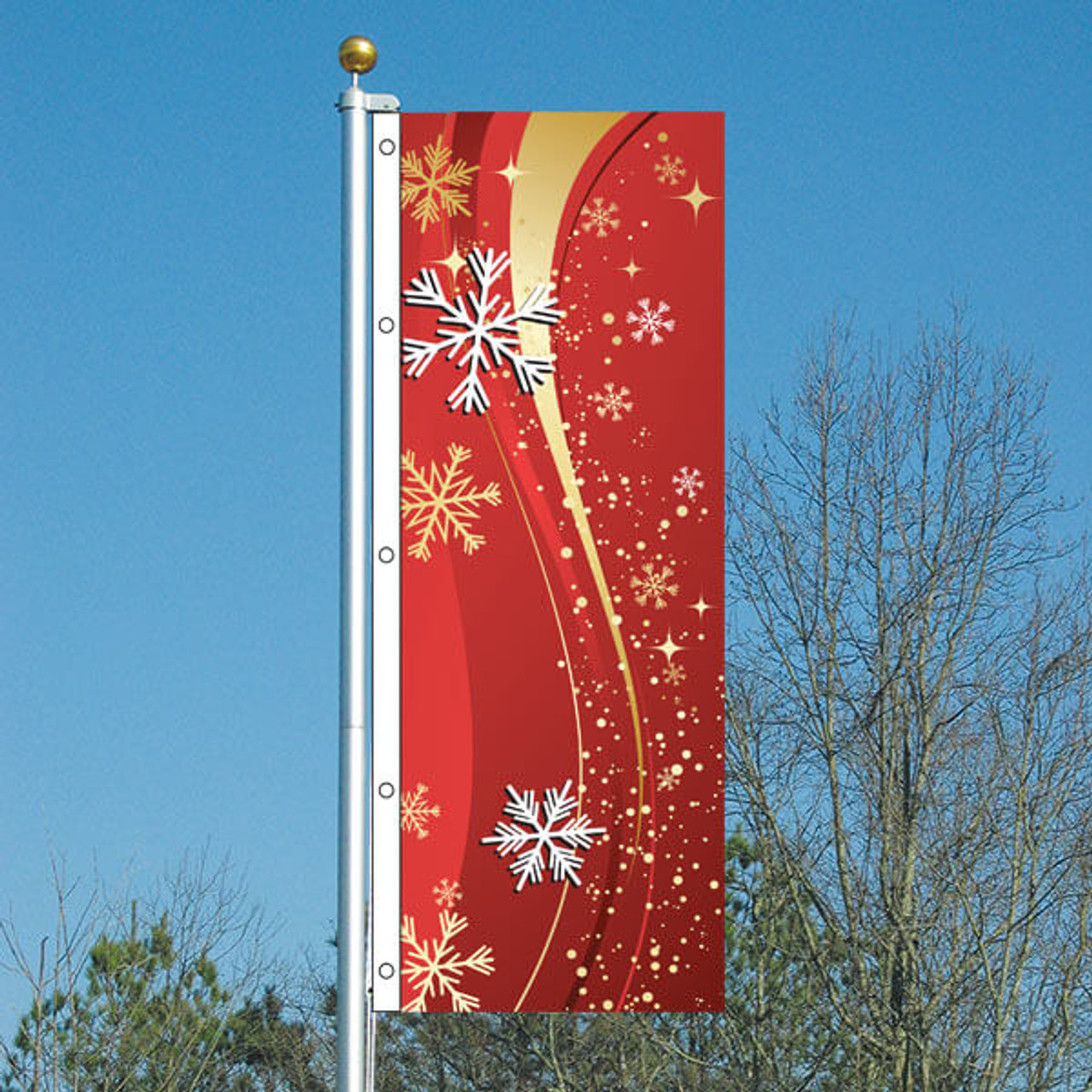 3x8 Red Snowflakes Vertical Flag