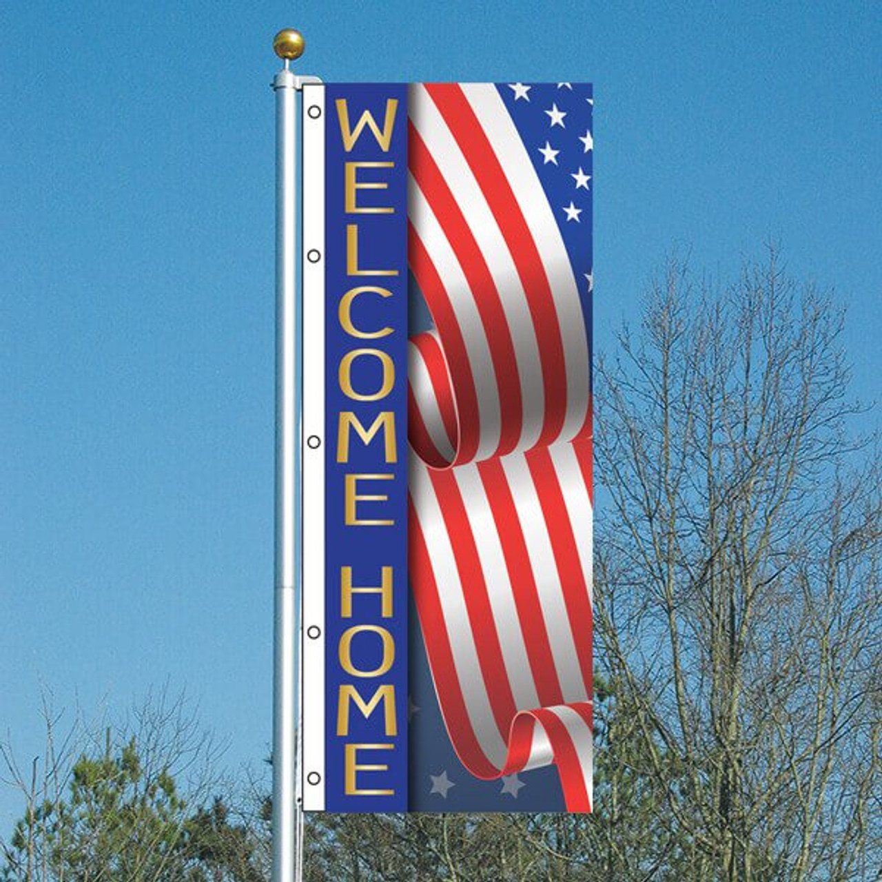 3' x 8' USA Welcome Home Vertical Flag
