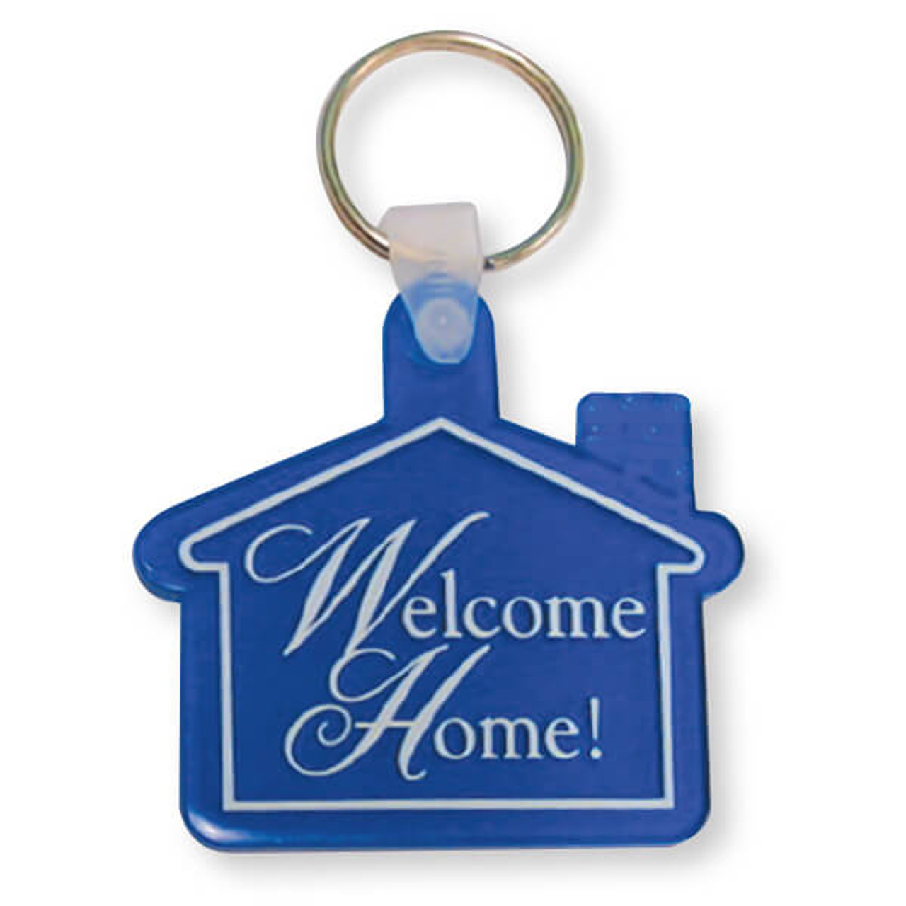 Welcome Home Keytag Translucent Blue w/White Imprint