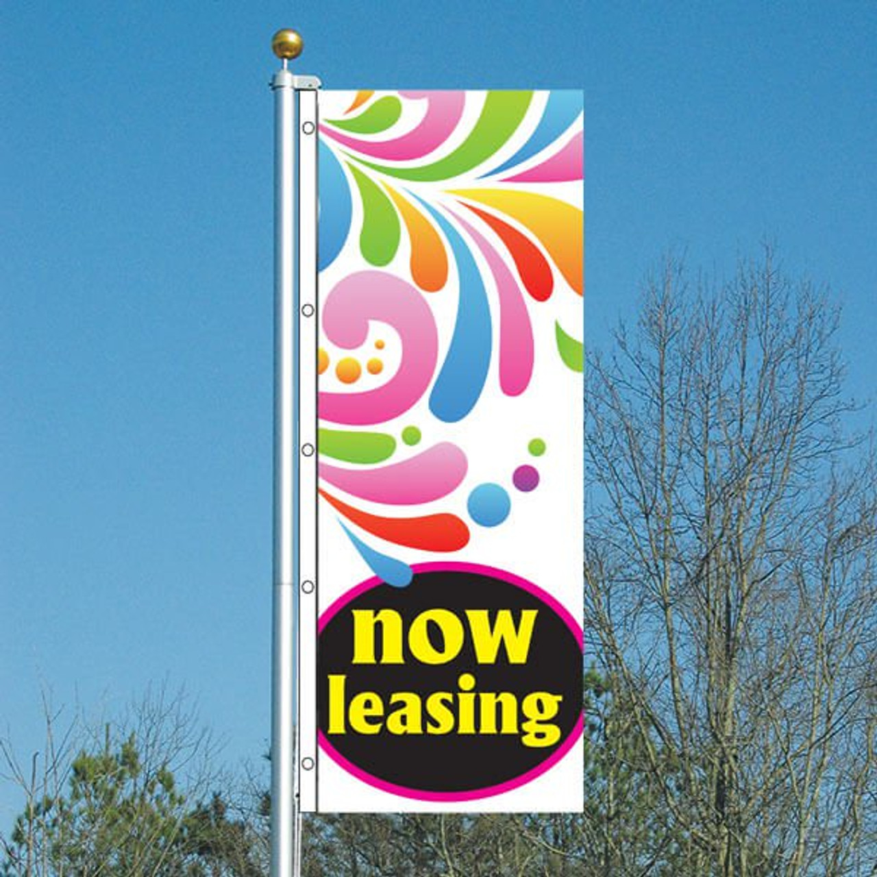 3' x 8' Splash Now Leasing Vertical Flag