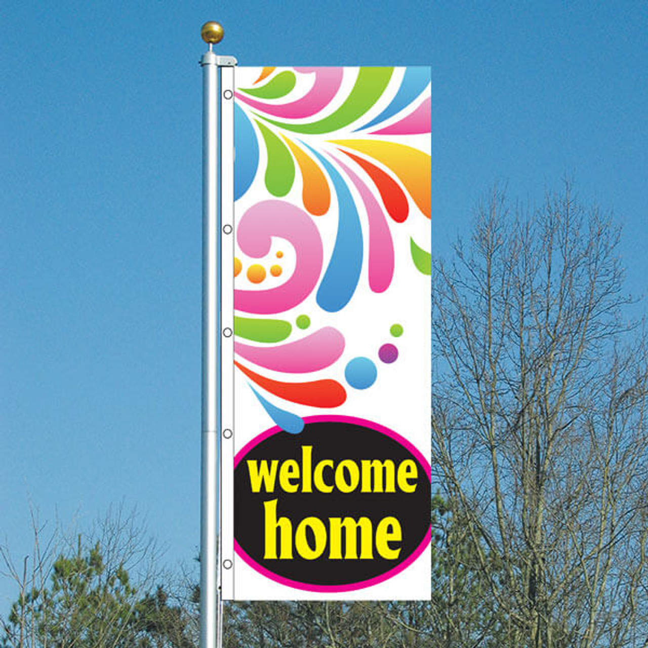 3' x 8' Splash Welcome Home Vertical Flag