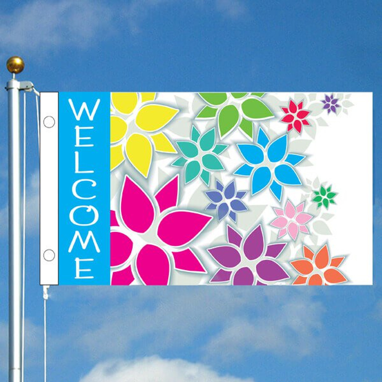 3' x 5' Festive Flowers Welcome Flag