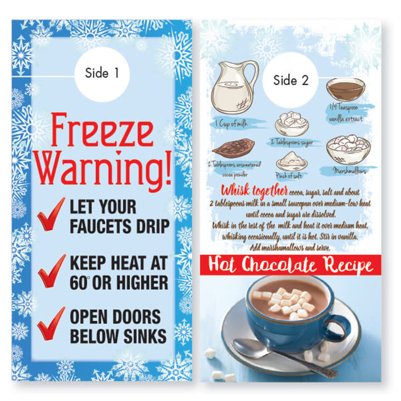 Freeze Warning Door Hanger with Hot Chocolate Recipe
