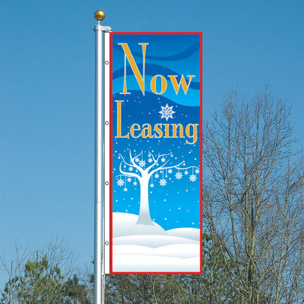 3' x 8' Winter Wonderland Now Leasing Vertical Flag