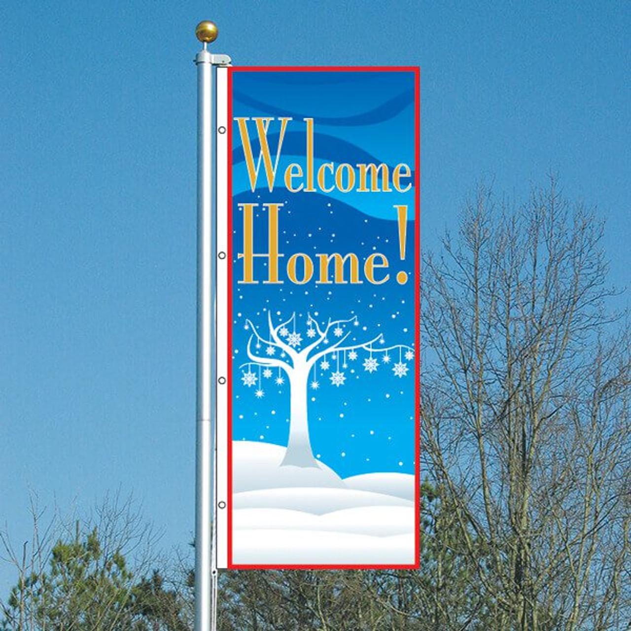 3' x 8' Winter Wonderland Welcome Home Vertical Flag