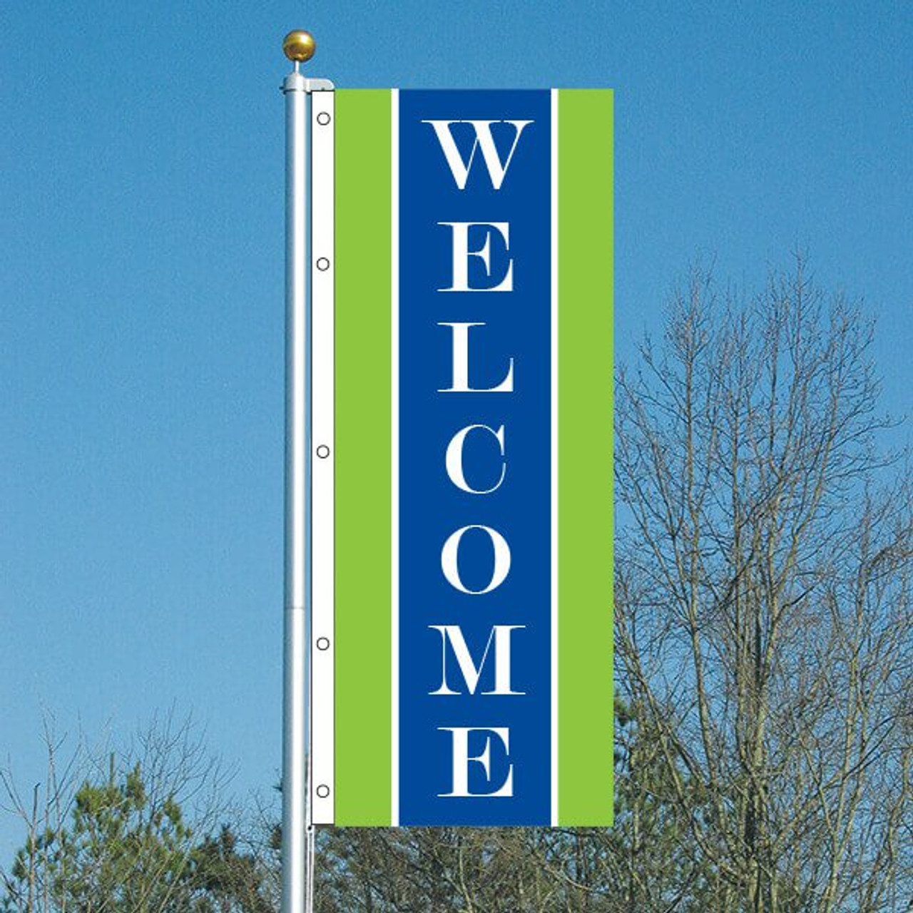 3' x 8' Cheerful Welcome Vertical Flag