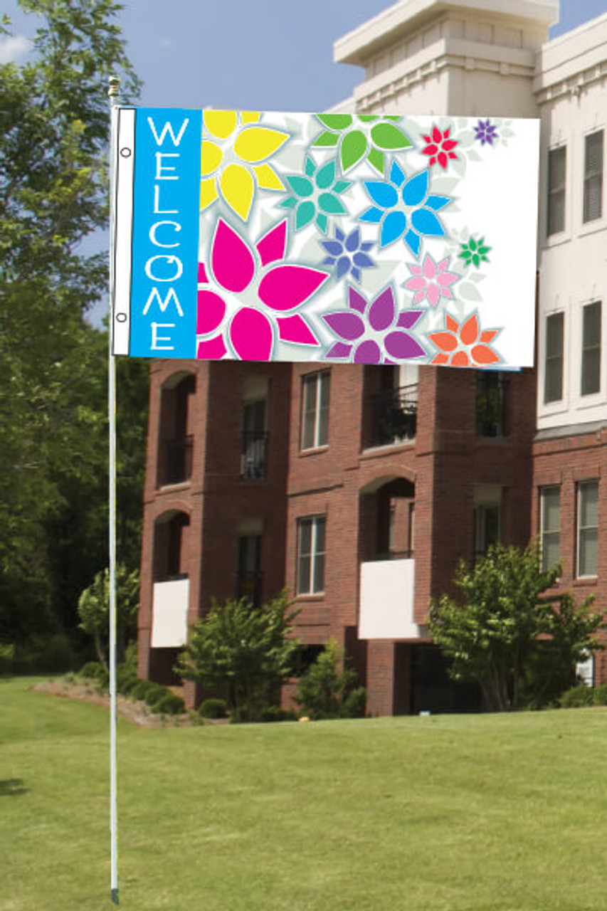 10' White Aluminum Pole for 3x5 & 3x8 flags