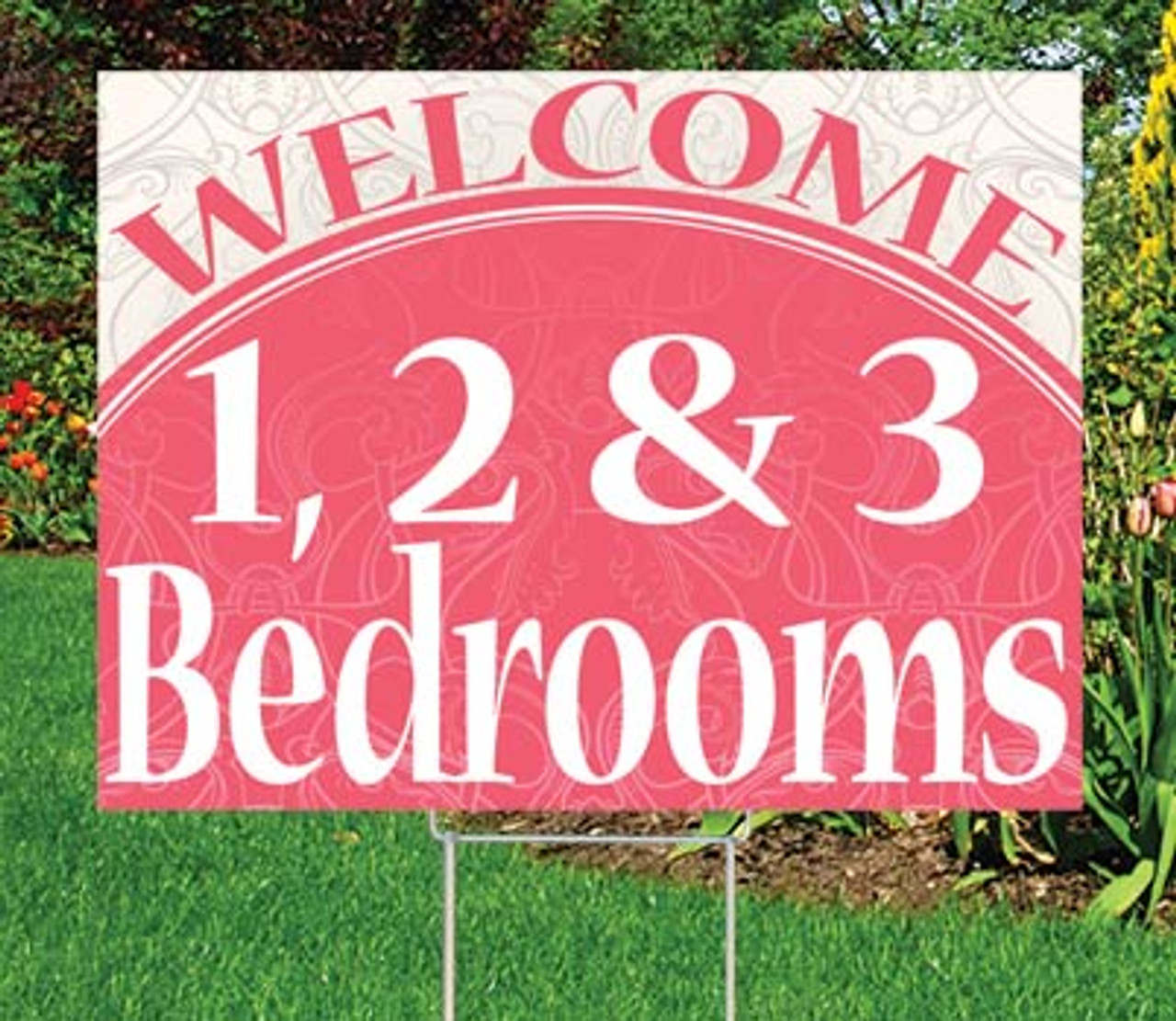 """1, 2 & 3 Bedrooms- 18""""x24"""" Sign  - Distinguished Theme"""