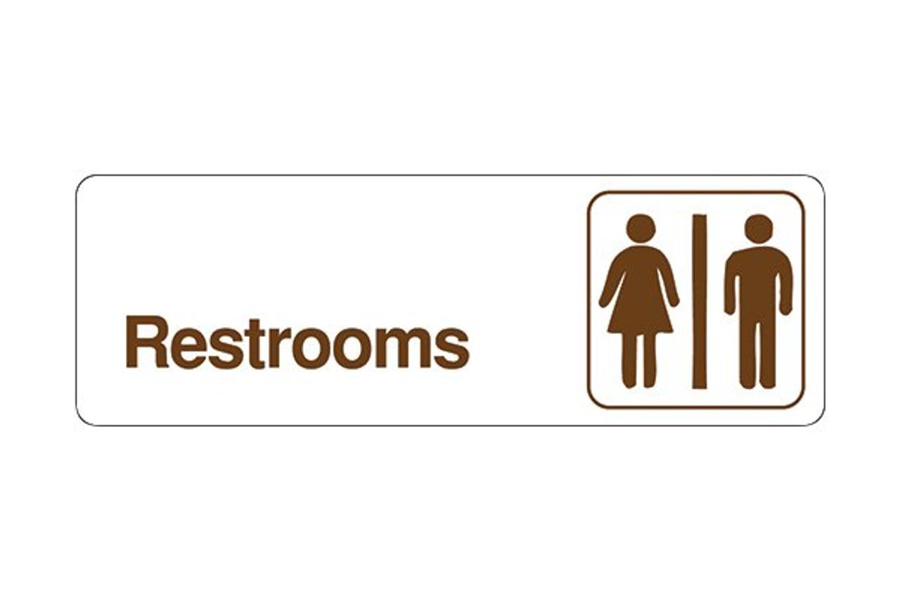 "3"" x 9"" Economy Styrene Sign Restrooms"