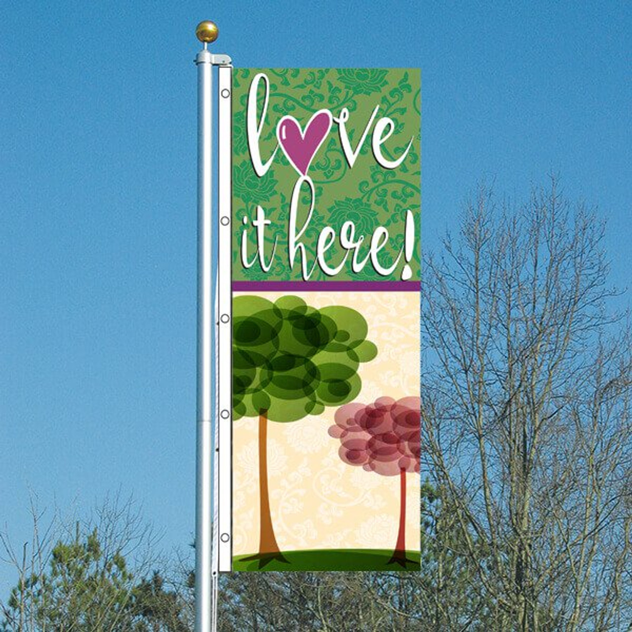 3' x 8' Vertical Flag - Love It Here! Seasons Design