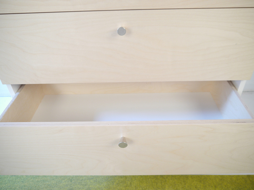 Inside drawer box (Smaller standard dresser shown)