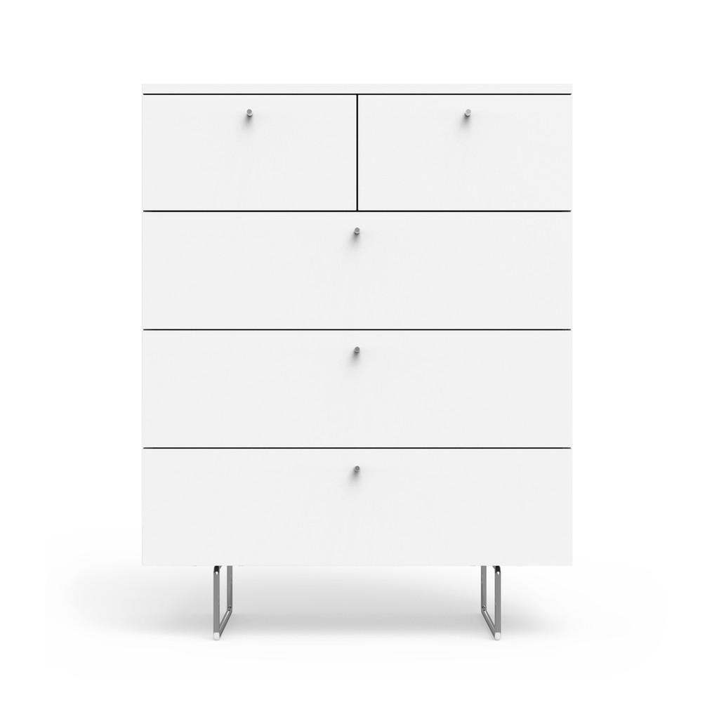 Alto 5 Drawer Dresser in White