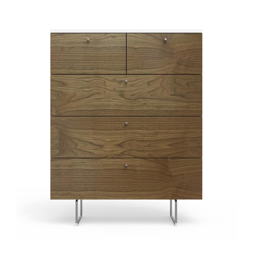 Alto 5 Drawer Dresser in Walnut and White