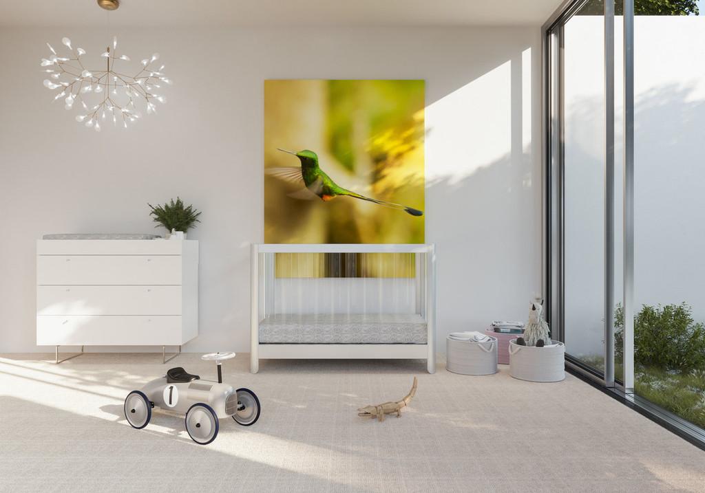 "Reverie Crib, Spot On Square 45"" Dresser in white and Spun Bedding"