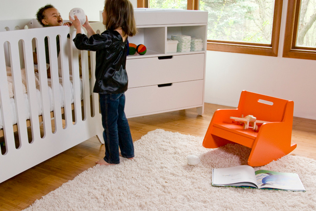 Hiya Collection Crib and Dresser shown in all White