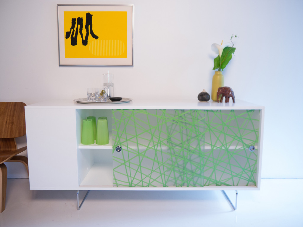Alto Credenza shown with Green Strand panels.