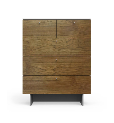Roh 5 Drawer Dresser in Walnut and White