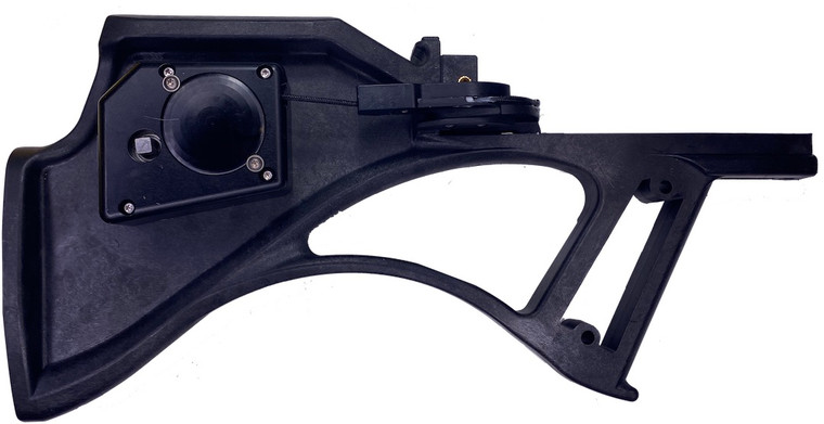 A side view of the AeroCrank-AD installed on a plan DeathStalker crossbow stock.