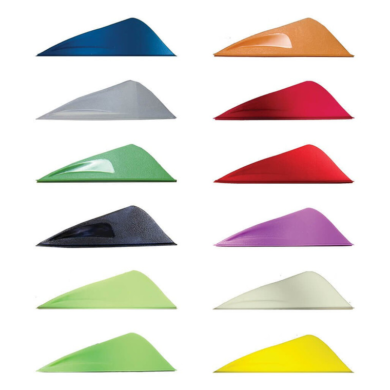 A lineup of all twelve of the Aerovane II colors: blue, clear, green, black, lime, mint, orange, red, pink, violet, white, and yellow.