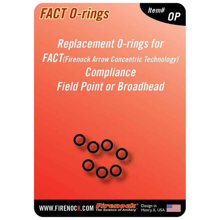 The Firenock AeroPoint and broadhead O-rings come in a convenient seven pack to replace any old/torn O-rings from FACT system components.