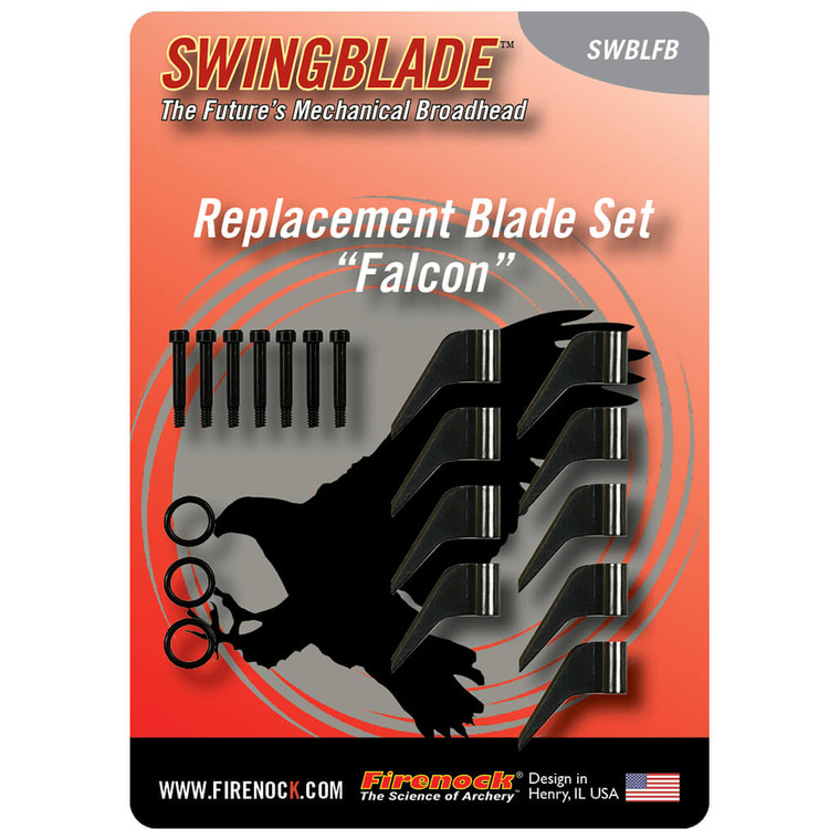 Each Falcon replacement blade set comes with nine Falcon blades, six fasteners, and three O-rings.