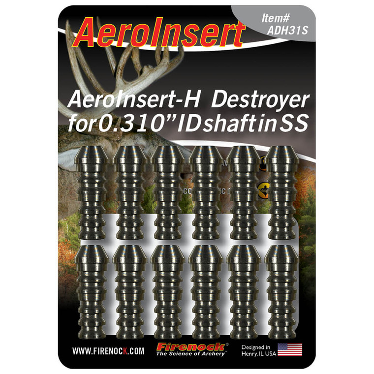 """The Destroyer AeroInsert-H for 0.315"""" ID class arrows is available in two materials, stainless steel (this image) and titanium."""