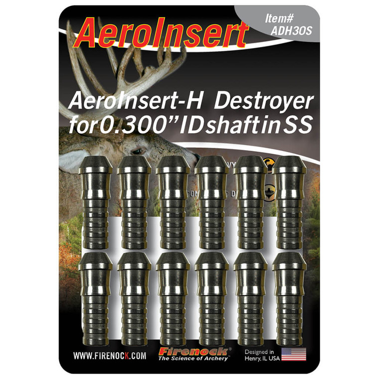 """The Destroyer AeroInsert-H for 0.300"""" ID class arrows is available in a twelve pack and made of stainless steel."""