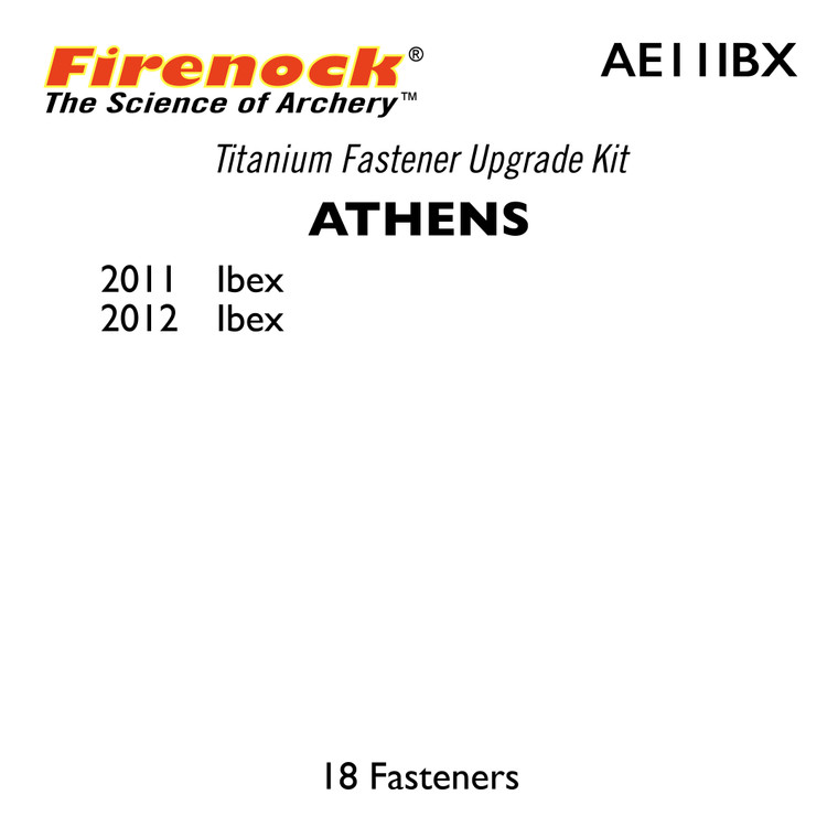 The Titanium Kit for this Athens bow includes 18 fasteners.