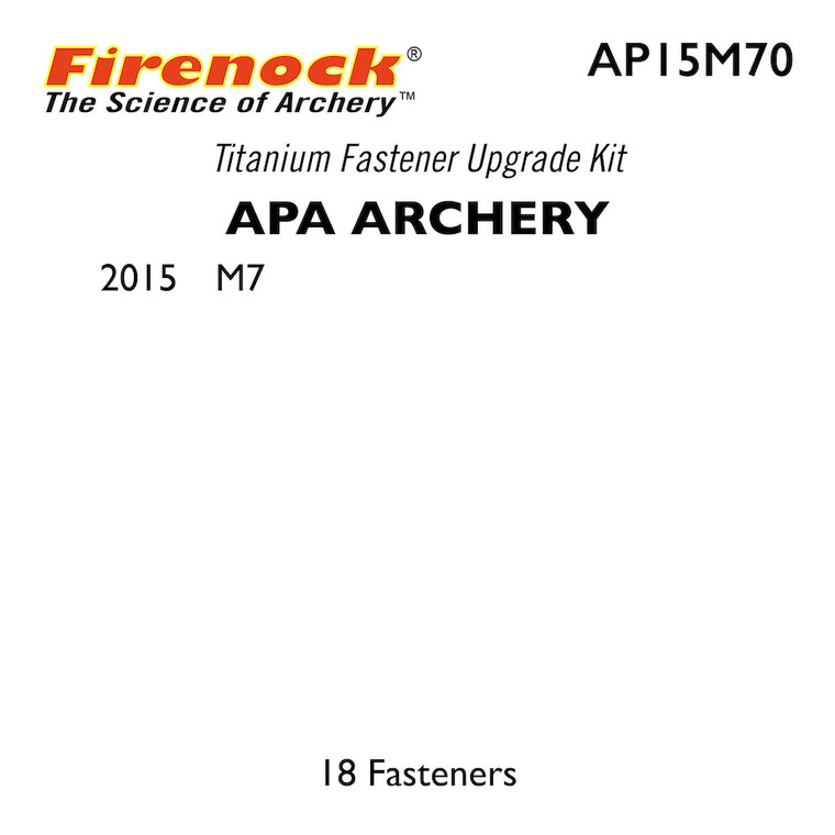 The Titanium Kit for this APA Archery bow includes 18 fasteners.