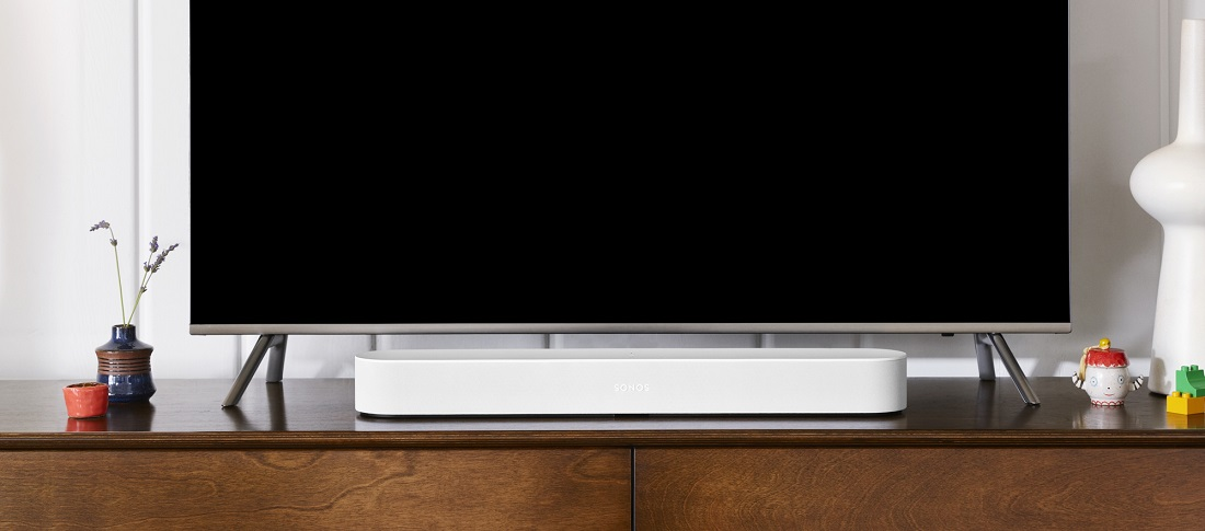 Sonos Beam with TV. Sonos compact soundbar in white