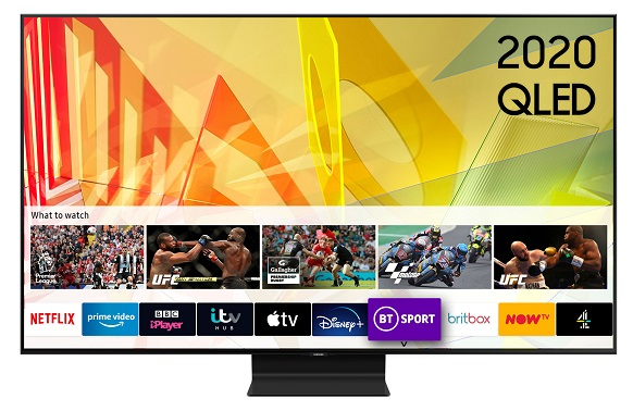 Samsung QLED QE75Q90T TV with Tizen Smart TV Home Screen