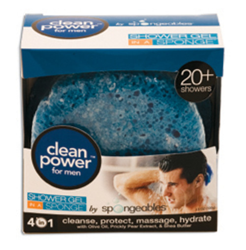 Shower Gel In a Sponge, Clean Power for Men 3.5 oz