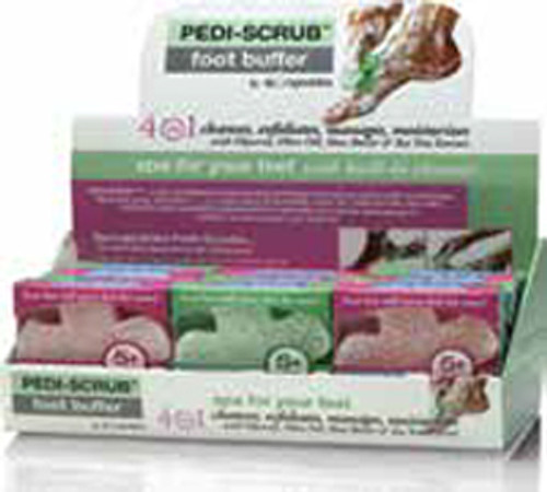 Case of 12 Assorted 5+ Pediscrubs with exfoliating foot buffer