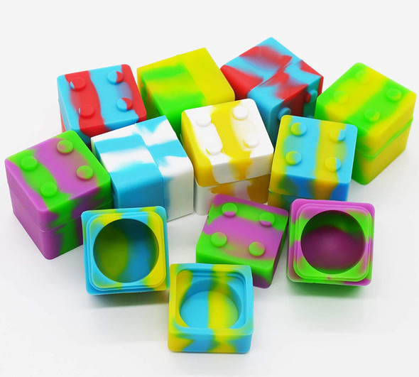 Silicone 9ML Square Lego Jar Assorted Colors