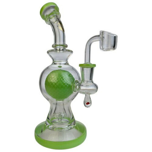"""On Point Glass 9"""" Textured Ball Perc Banger Hanger Water Pipe with 14mm Banger Green"""