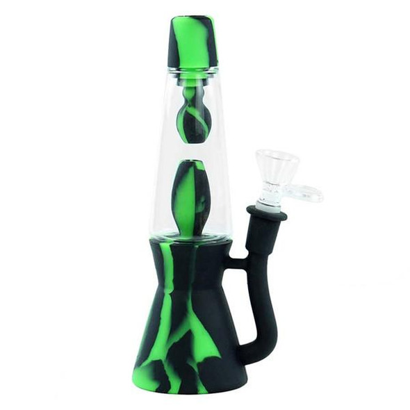 """8"""" Silicone and Glass Hybrid Lava Lamp Water Pipe - Black and Green"""