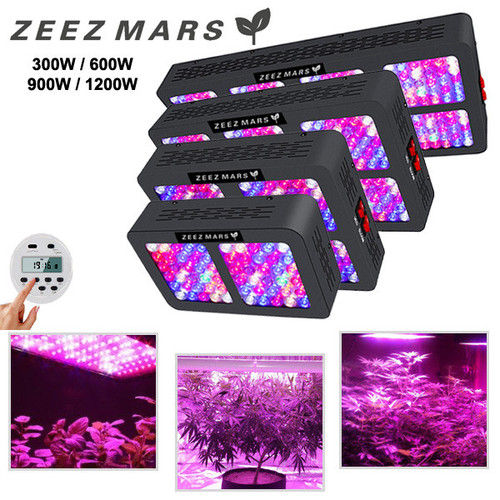 ZEEZ MARS - 300W/600W/900W/1200W Timer Control Full Spectrum LED Grow Light w/ Optical Lens For Indoor Medical Plant, Bloom, Seed, Veg & Flower