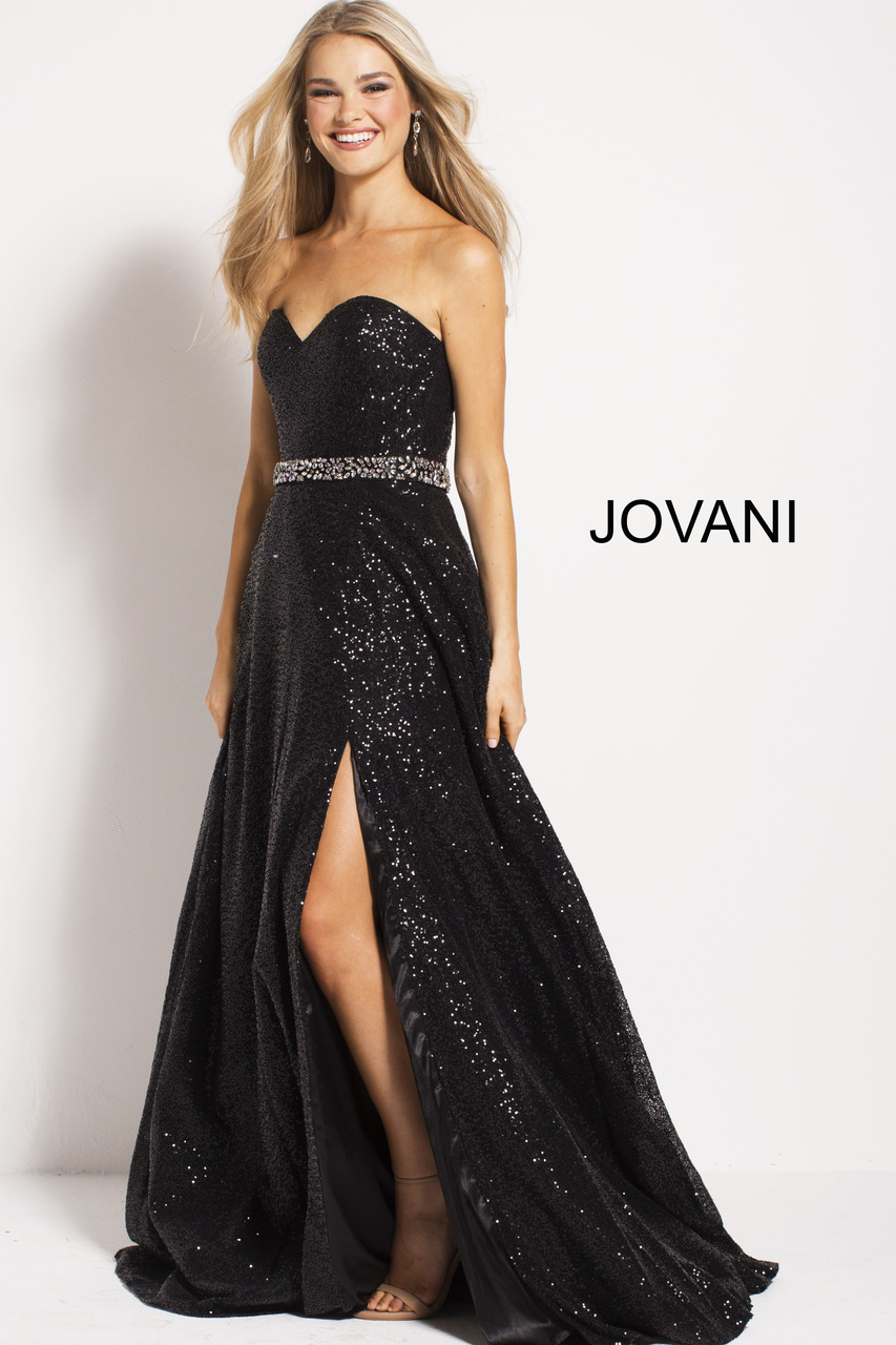 ee6a40589e4a Jovani 63350 black and gold sequin long dress - Mia Bella Couture