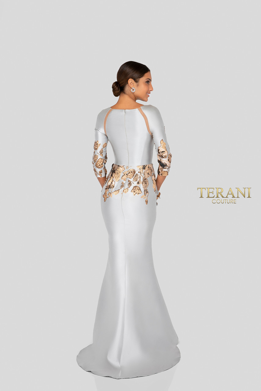 d2e8a7aa05b9 Terani 1911E9116 long sleeve fitted evening gown and mother .