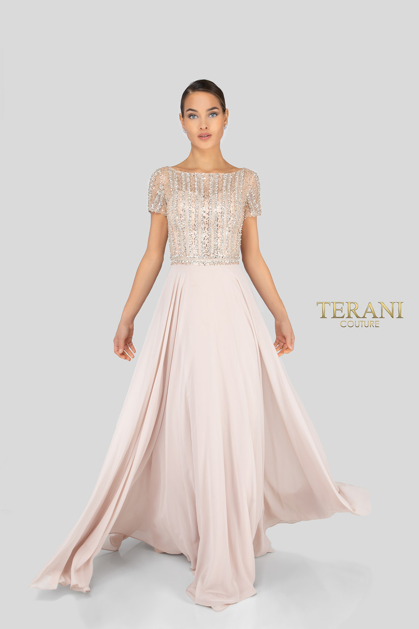 4e4419b68b6 Terani Couture Sweetheart Neck Long Beaded Sleeve Chiffon Gown ...