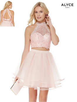 389f8bc225a Alyce 3820. As low as  178.00. Two-piece short dress with lace halter  neckline crop top ...