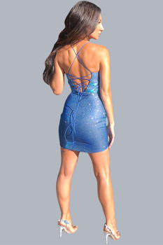 Short glitter blue has a criss cross back - back image