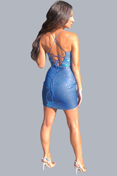 Short glitter blue has a criss cross back - back image