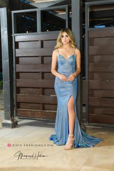 Glitter Blue Long High slit