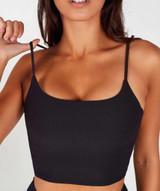 Lux Ribbed Cami Crop Top - Black