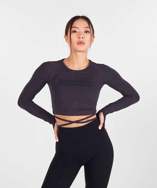 Block Ribbon Long Sleeve Crop - Graphite