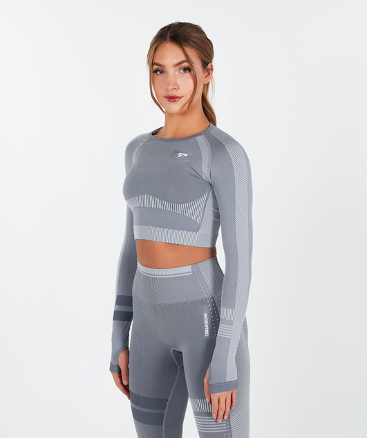 Motion Seamless Crop Top - Grey